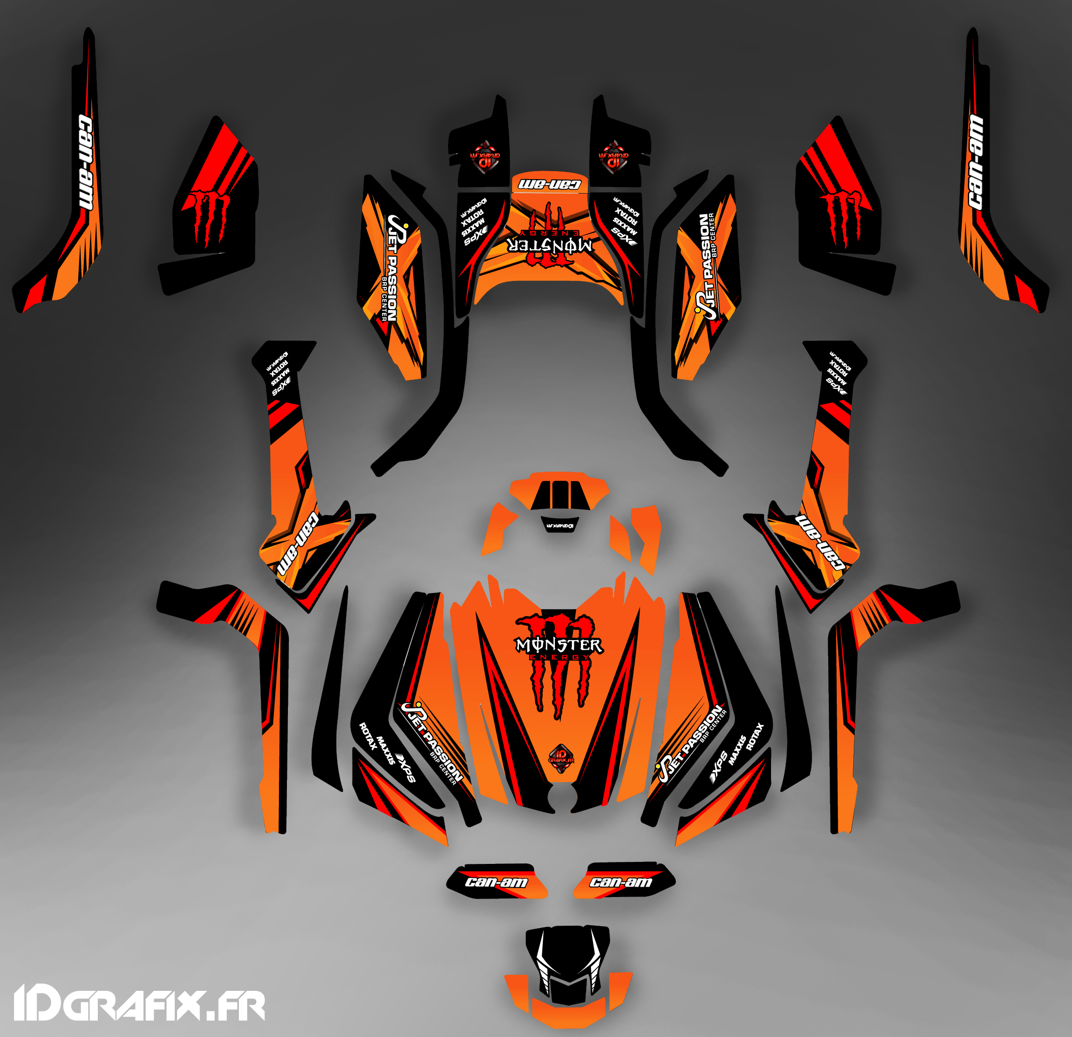 Kit décoration Can Am Outlander G2 , 2015. Outlander g2 max Monster Orange