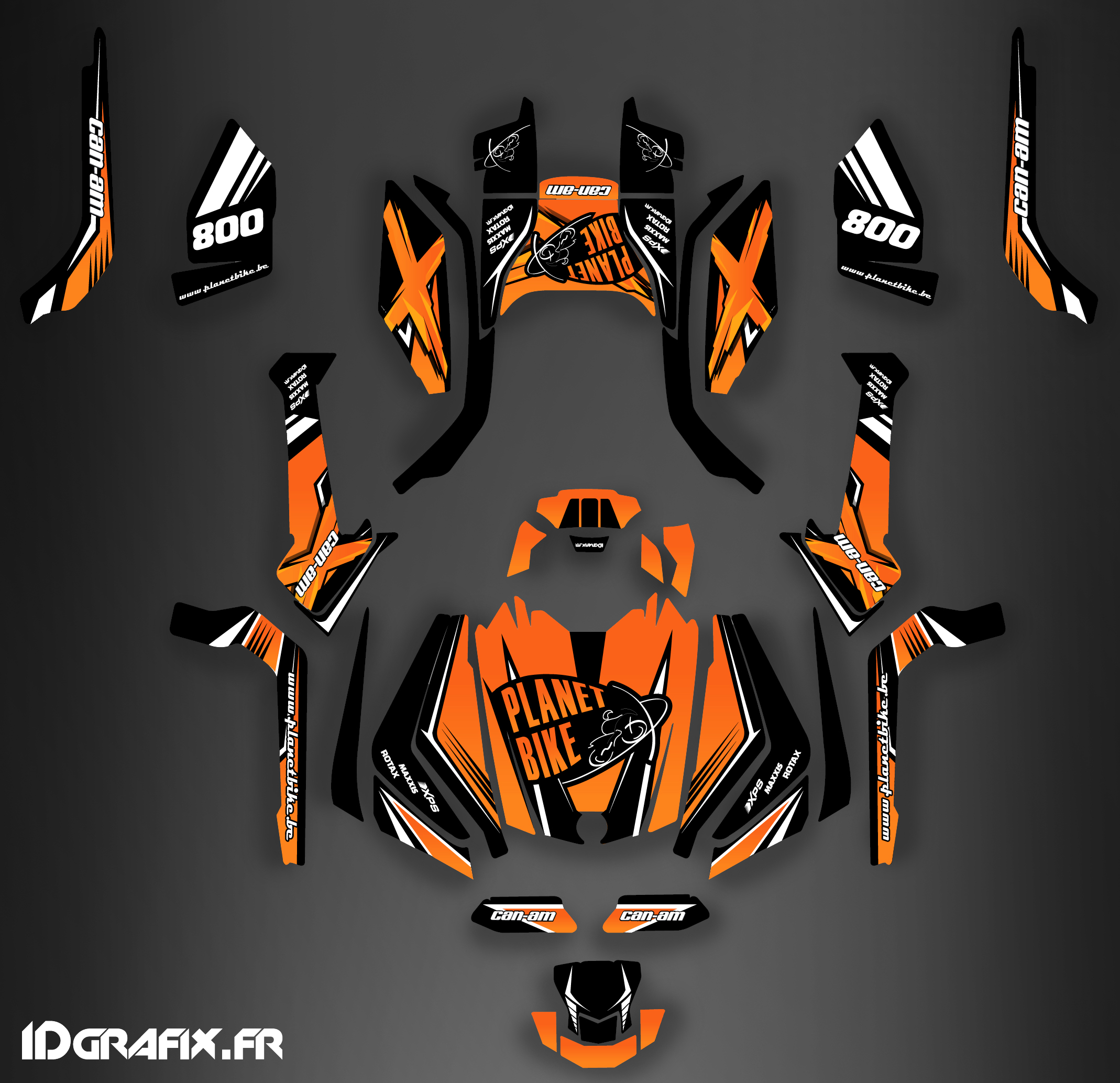 Kit décoration Can Am Outlander G2 , 2015. Outlander g2 max Monster Orange  Outlander g2 max Monster Orange